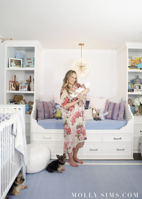 Molly Sims shares her beautiful blue nursery for Baby Brooks via @lilsugar. Love the built-ins.