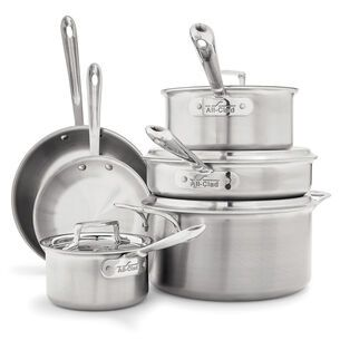 All Clad D5 Brushed Stainless Steel 10 Piece Set Cookware Set Brushed Stainless Steel Pots And Pans Sets