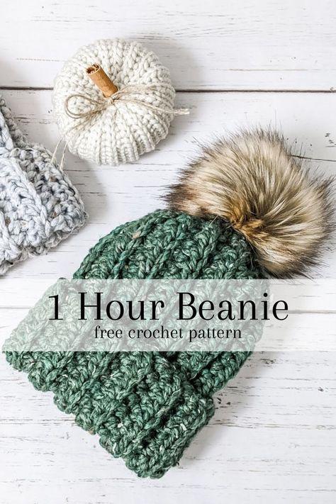 Quick Crochet Patterns, Crochet Beanie Pattern, Knit Or Crochet, Crochet Hooks, Knitting Patterns, Crocheted Hats, Crotchet, Beginner Crochet Hat, Free Crochet Patterns For Beginners