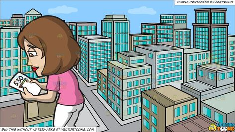 A Woman With A Bad Credit Score and A View Of The City From A Top Of A Building During The Day Background