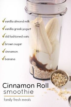 Cinnamon Roll Smoothie is great! Just imagine taking all the sweet, sticky, spic… Cinnamon Roll Smoothie is great! Just imagine taking all the sweet, sticky, spicy indulgence of a fresh-baked cinnamon roll and cramming it into a glass. Yummy Drinks, Healthy Drinks, Yummy Food, Refreshing Drinks, Nutrition Drinks, Healthy Iced Coffee, Nutrition Diet, Healthy Juices, Healthy Dessert Recipes