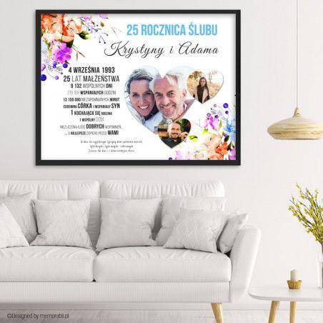Plakat Na Rocznice Slubu Ze Zdjeciami W Sercach Akwarele Kwiaty Presents Diy Crafts Valentine