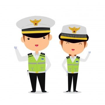 Cute South Korean Police Couple Character In Cartoon Style Boy Hat Kawaii Png And Vector With Transparent Background For Free Download Cartoon Styles Couples Characters Cartoon