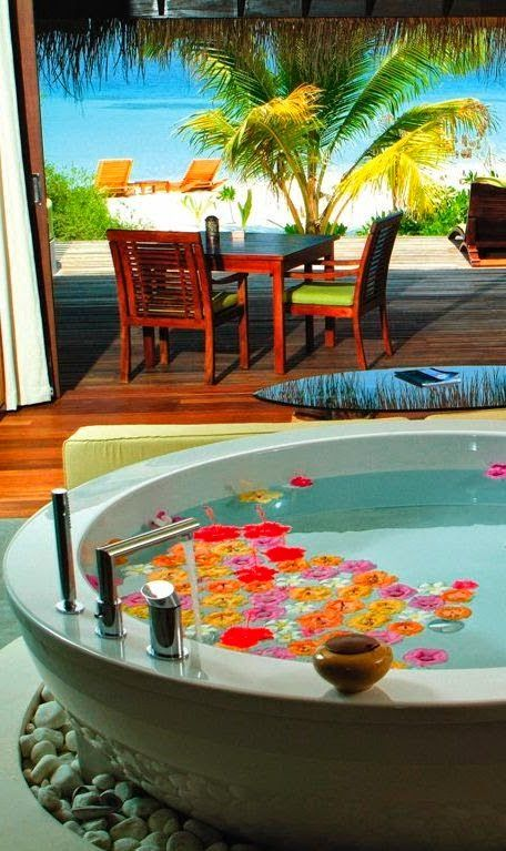 Beach Villa at Coco Bodu Hithi Resort, Maldives - Explore the World with Travel Nerd Nici, one Country at a Time. http://TravelNerdNici.com