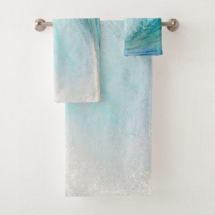 Fresh Pacific Ocean Blue Wave Breaking Bath Towel Set Zazzle Com Pacific Ocean Blue Bath Towel Sets Blue Waves