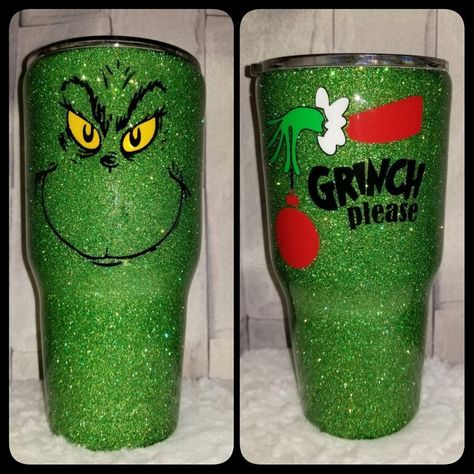 30 oz Grinch Christmas Glitter Tumbler - Stainless Steel with Spill Proof Lid for Hot or Cold Drinks Diy Tumblers, Custom Tumblers, Glitter Tumblers, Acrylic Tumblers, Christmas Tumblers, Disney Cups, How To Dye Fabric, Dyeing Fabric, Custom Cups