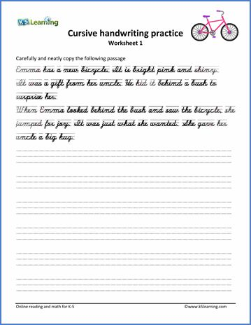 Cursive Handwriting Worksheet on handwriting passages 3rd Grade