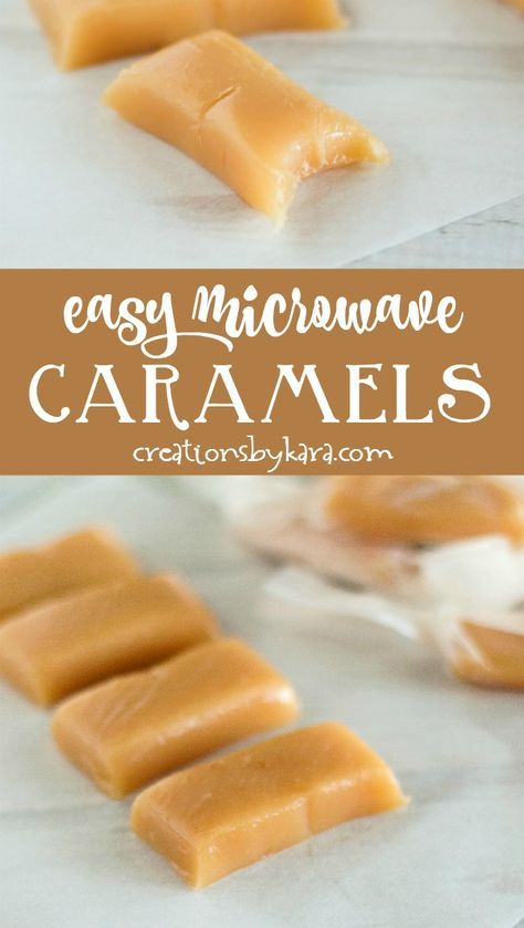 Easy Microwave Caramels Made In 6 Minutes These Rich And Buttery Caramels Are Perfect Caramel Recipe Easy Microwave Caramels Sweetened Condensed Milk Recipes