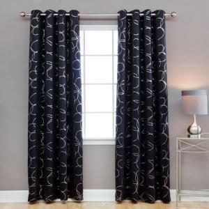 Best Home Fashion 96 In L Polyester Flower Foil Blackout Curtains In Black 2 Pack Kc 27 Flower 96 Black The Home Depot Grommet Curtains Cool Curtains Curtains 96 black out curtains