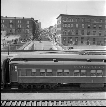 Looking North to York St. London Ontario Richmond St, London, ON Canada 6  May 1955 Free Press Negs Western Archives