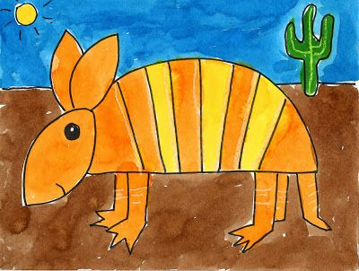 Art Projects for Kids: Armadillo Painting