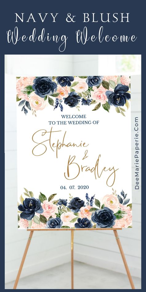 Wedding Welcome Sign in Navy, Blush Pink & Gold!