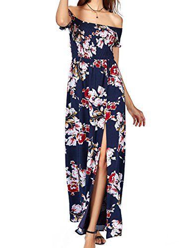 b77d534d6 Summer Dress $28.99 Azalosie Off Shoulder Maxi Dress Floral Short Sleeve  Empire Waist Slit Women Dress Summer Beach Boho