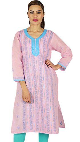 Indian Chikan Embroidered Bollywood Women Ethnic Kurti