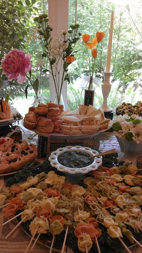 vintage bridal shower buffet