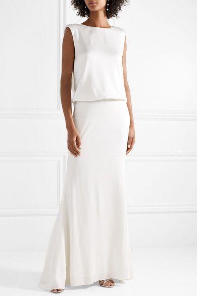 Rachel Zoe Ava Lace Trimmed Satin Crepe Gown Net A