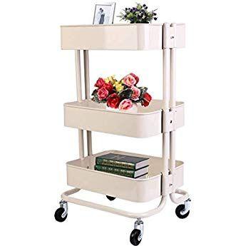 Vest/íbulo 3 Alturas con Ruedas Olliwon Carritos Auxiliares para Cocina y Ba/ño Dormitorio o Oficina Ideal como Almacenaje Adicional para Cocina Blanco