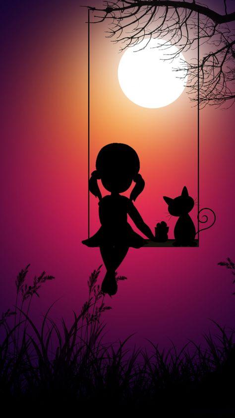Kid girl and cat, swing, moon light, digital art, 720x1280 wallpaper