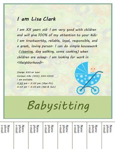 Cute-baby-tear-off-babysitting-flyer random Pinterest - example of flyers
