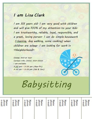 Babysitting flyer template on pinterest babysitting for How do you make your own business cards on word