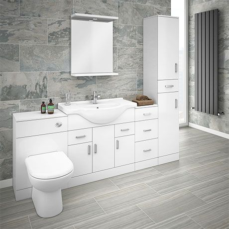 Cove 2020mm Bathroom Furniture Pack High Gloss White Depth 330mm Victorian Plumbing Uk In 2020 Small Bathroom Bathroom Design Small Bathroom Furniture