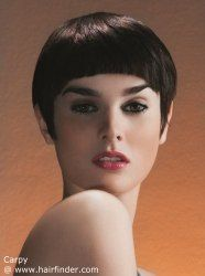 Short hairstyle with a short fringe