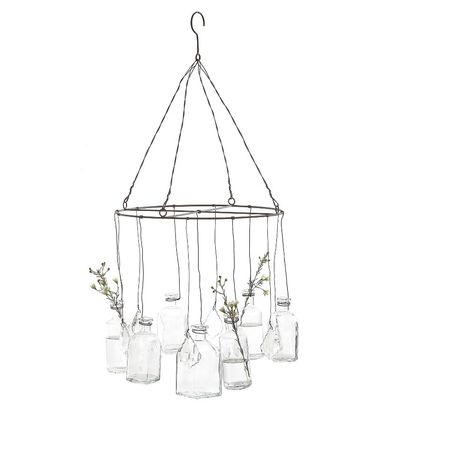 Hanging Glass Vases With Crystals are a unique way to display flowers. Visit Antique Farmhouse for more glass vases. Art Nouveau, Vase Transparent, Diy Home Decor, Room Decor, Hanging Vases, Hanging Terrarium, Hanging Crystals, Shabby, Creative Co Op
