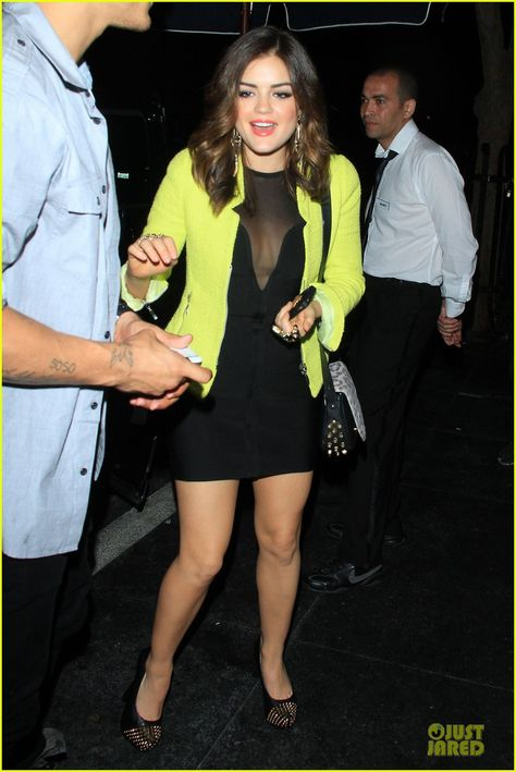 Lucy Hale rocks a neon blazer while arriving at Beso on Saturday (June 9) in Hollywood.