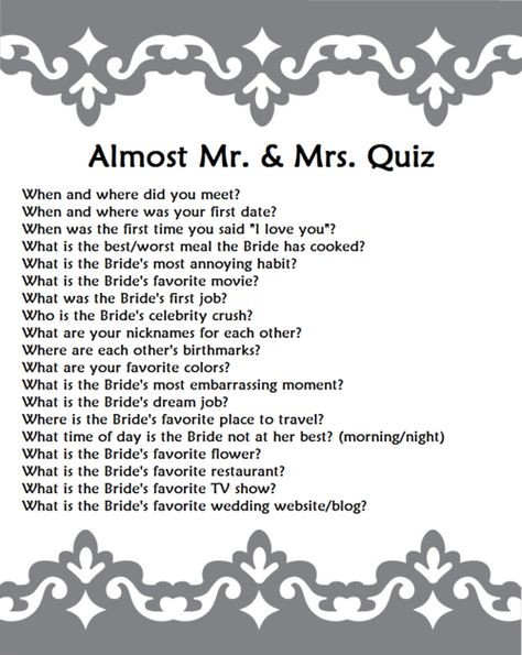 Mr And Mrs Paddle Questions: Mr And Mrs Quiz Hen Do