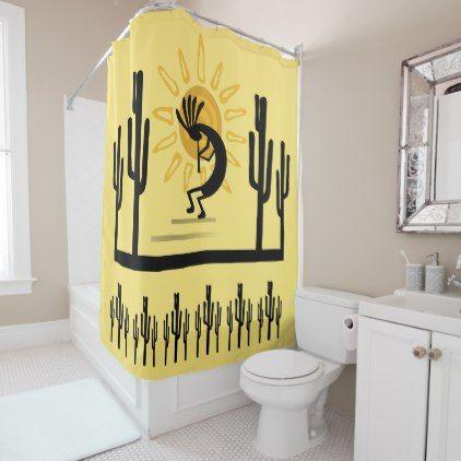 Southwest Kokopelli Golden Sun Shower Curtain Zazzle Com Shower Curtain Personalized Bathroom Curtains