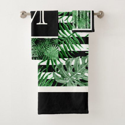 Custom Tropical Palm Leafs Black White Stripes Bath Towel Set