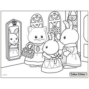 Coloring Calico Critters In 2020 Family Coloring Pages Family Coloring Hello Kitty Drawing