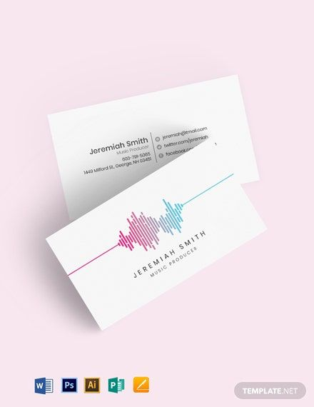 Music Producer And Dj Business Card Template Business Card Template Word Dj Business Cards Business Card Template