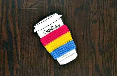 Pansexual Crocheted Cup Cozy