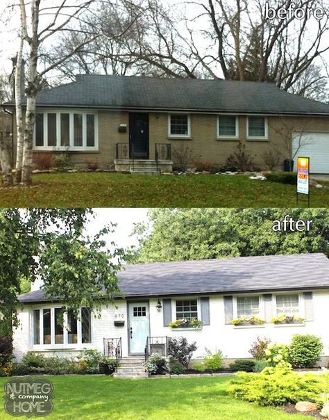 Nutmeg & Company Home: Before & After :Curb Appeal Part Cute bungalow, ranch style remodel. Might be painted brick, white with a beautiful blue front door and shutters