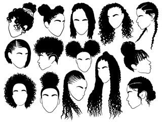 Set Of Female Afro Hairstyles Collection Of Dreads And Afro Braids For A Girl Black And White Illu Girl Hair Drawing Afro Hair Drawing Afro Hair Illustration