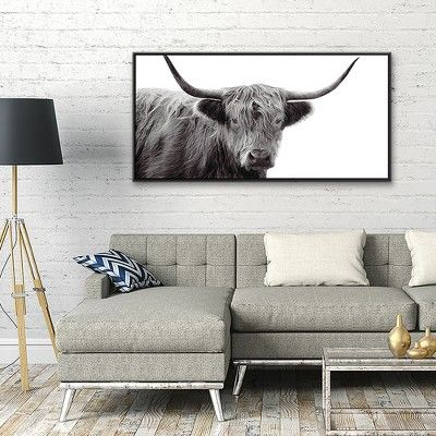 24 25 X 48 25 Highland Cow Framed Wall Canvas Black White Threshold In 2020 Framed Wall Canvas Frames On Wall Cow Canvas