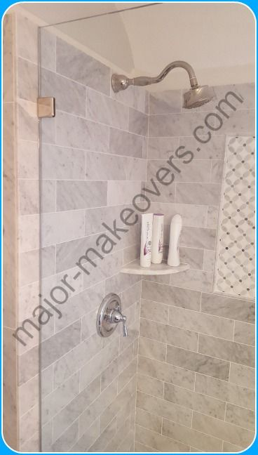 4x12 Brick Style Marble Installed On Shower Walls And 4 Ft High