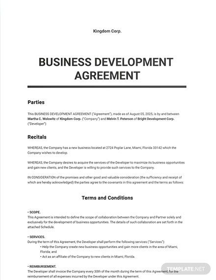 Business Development Agreement Template In 2020 Word Doc Business Development Agreement