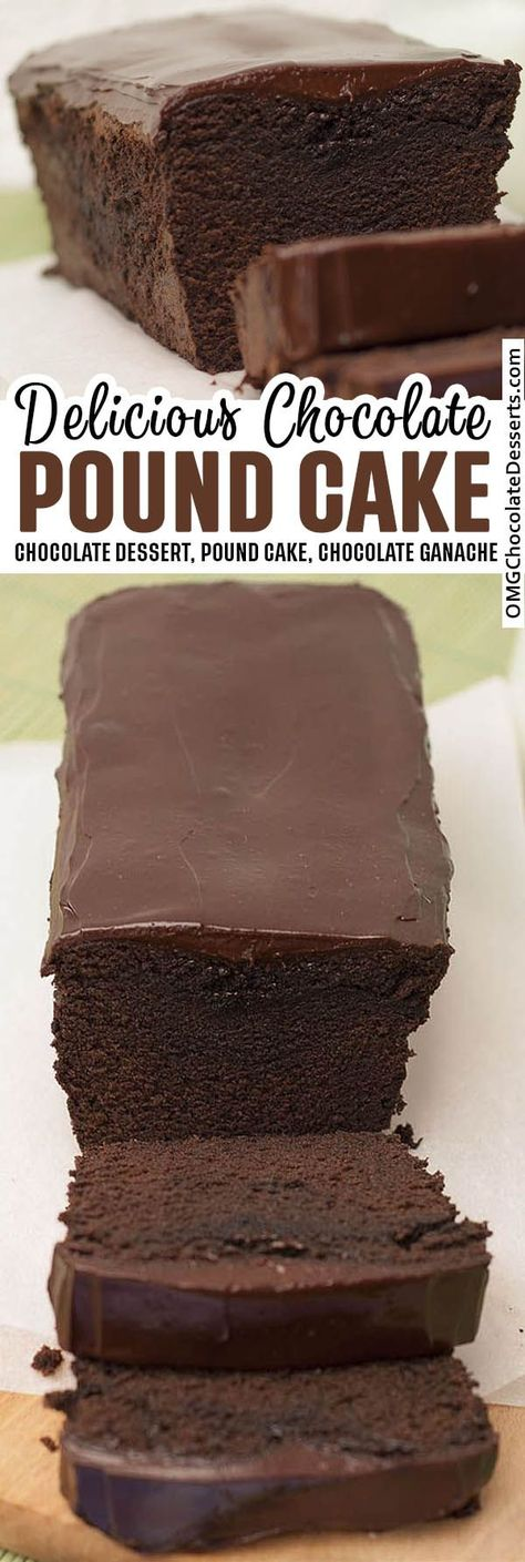 Decadent chocolate pound cake with a luscious chocolate ganache on top. This easy chocolate pound cake recipe is a chocolate dream!