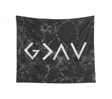 God is greater than the highs and lows - Christian Quote - Black Marble Wall Tapestry