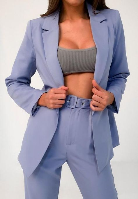 "blue long sleeve boyfriend style blazer with an open front.    Check out the matching co-ord, search style code - H9884862, R9345701       regular fit    Long Length - Covers the bum    Main: 90% Polyester 10% Elastane  Lining: 100% Polyester    Model wears a UK size 8 / EU size 36 / US size 4 and her height is 5'9"" Suit Fashion, Fashion 2020, Unique Fashion, Fashion Outfits, City Outfits, Blazer Outfits, Casual Outfits, Boyfriend Blazer, Boyfriend Style"