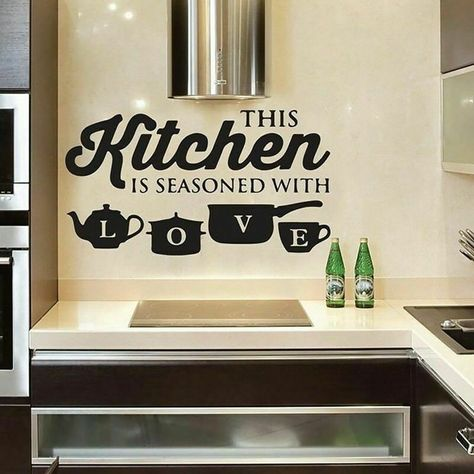 Kitchen Wall Stickers, Kitchen Wall Art, Kitchen Paint, Kitchen Wall Quotes, Wall Stickers Home Decor, Kitchen Redo, Kitchen Design, Affordable Home Decor, Easy Home Decor
