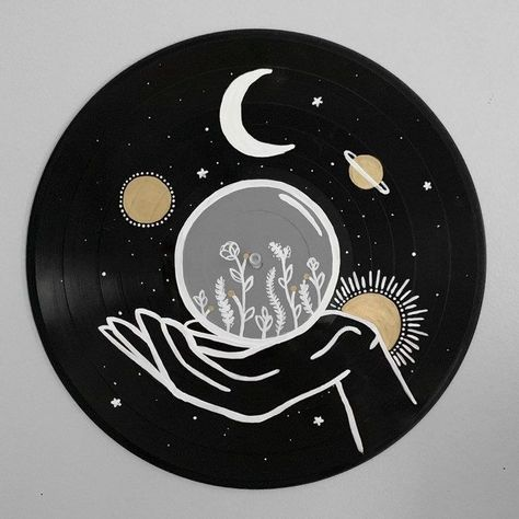 Excited to share this item from my shop: The Starman Record Collection - Hand painted vinyl records/wall decor/painted record/custom wall art drawing The Sun Painted Record - Hand painted vinyl records/wall decor/painted record/custom wall art Aesthetic Painting, Aesthetic Art, White Aesthetic, Decoration Tumblr, Art Cd, Record Wall Art, Record Decor, Vinyl Records Decor, Inspiration Art