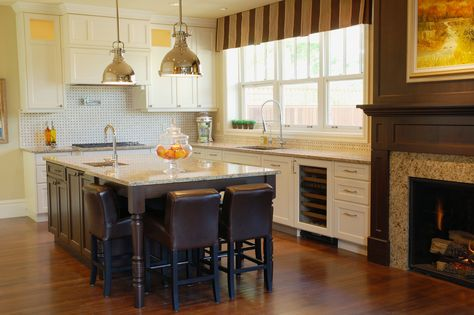 Loving The Fireplace In The Kitchen Area Custom Kitchen Island