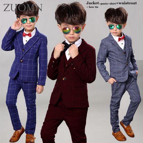 589608bd6c52 Boys BlackBlazer 5 pcs set Wedding Suits for Boy Formal Dress Suit ...