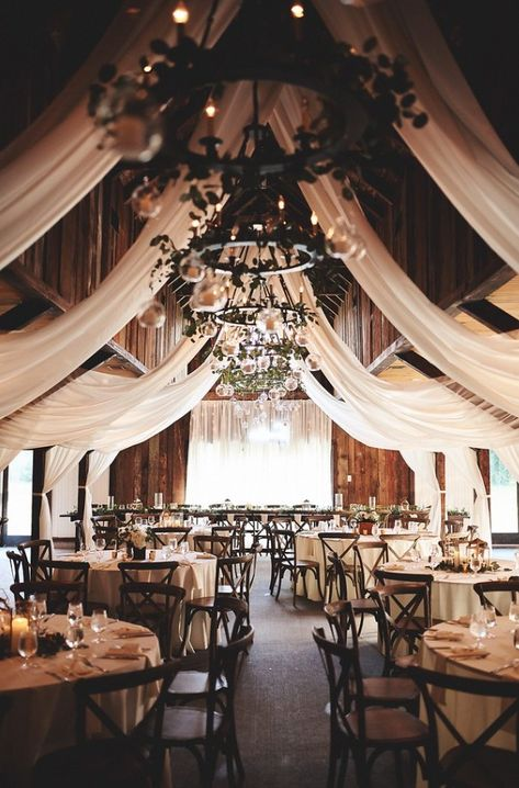 Draping in the Carriage House Floral & Décor by Duvall Events Catering by Duvall Events Photos by Th Wedding Reception Ideas, Barn Wedding Decorations, Barn Wedding Venue, Ceremony Decorations, Outside Wedding, Wedding Ceremony, Rustic Wedding, Wedding Signs, Wedding Beauty