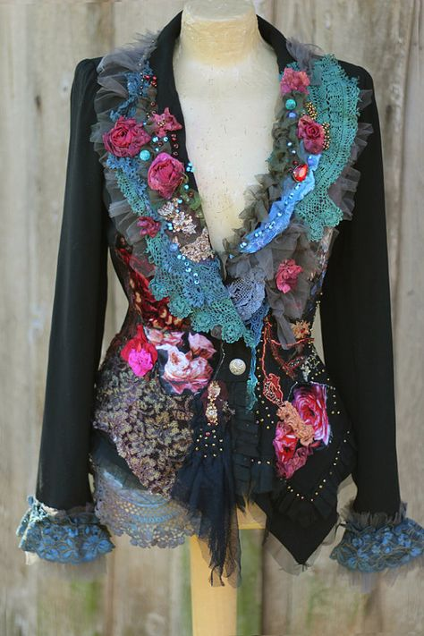 RESERVED-- PART PAYMENT-  Unique extravagant black jacket, is vintage in origin, has been reworked with textiles mix with antique and contemporary