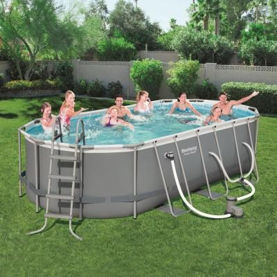 Bestway Bestway Power Steel 18 Ft X 9 Ft X 4 Ft Above Ground Swimming Pool Set With Pump 56711e Bw The Home Depot In 2021 Above Ground Swimming Pools Swimming Pools Oval Pool