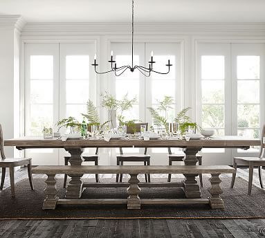 Banks Extending Dining Table Gray Wash In 2020 Dining Table With Bench Dining Room Decor Dining Room Design